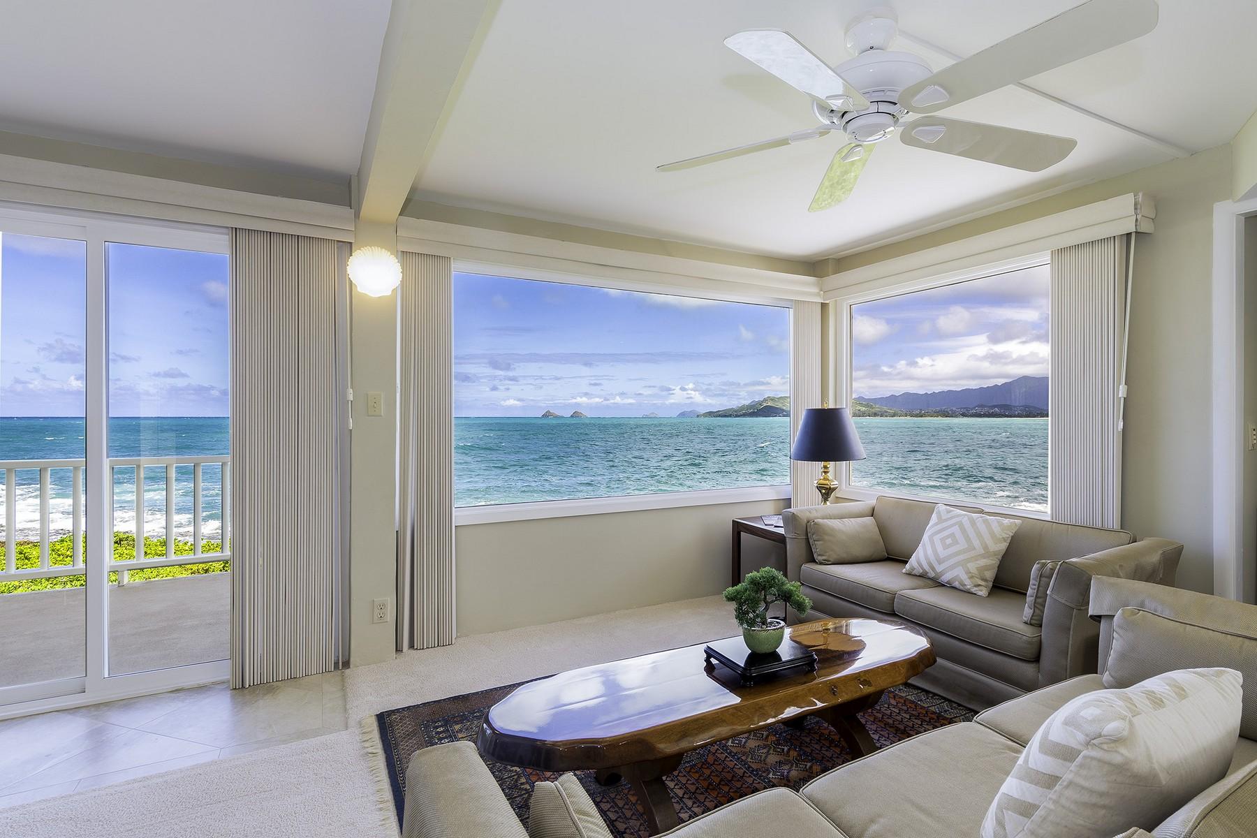 Single Family Home for Sale at Oceanfront Residence in Kaimalino 596 Kaimalino St Kailua, Hawaii, 96734 United States