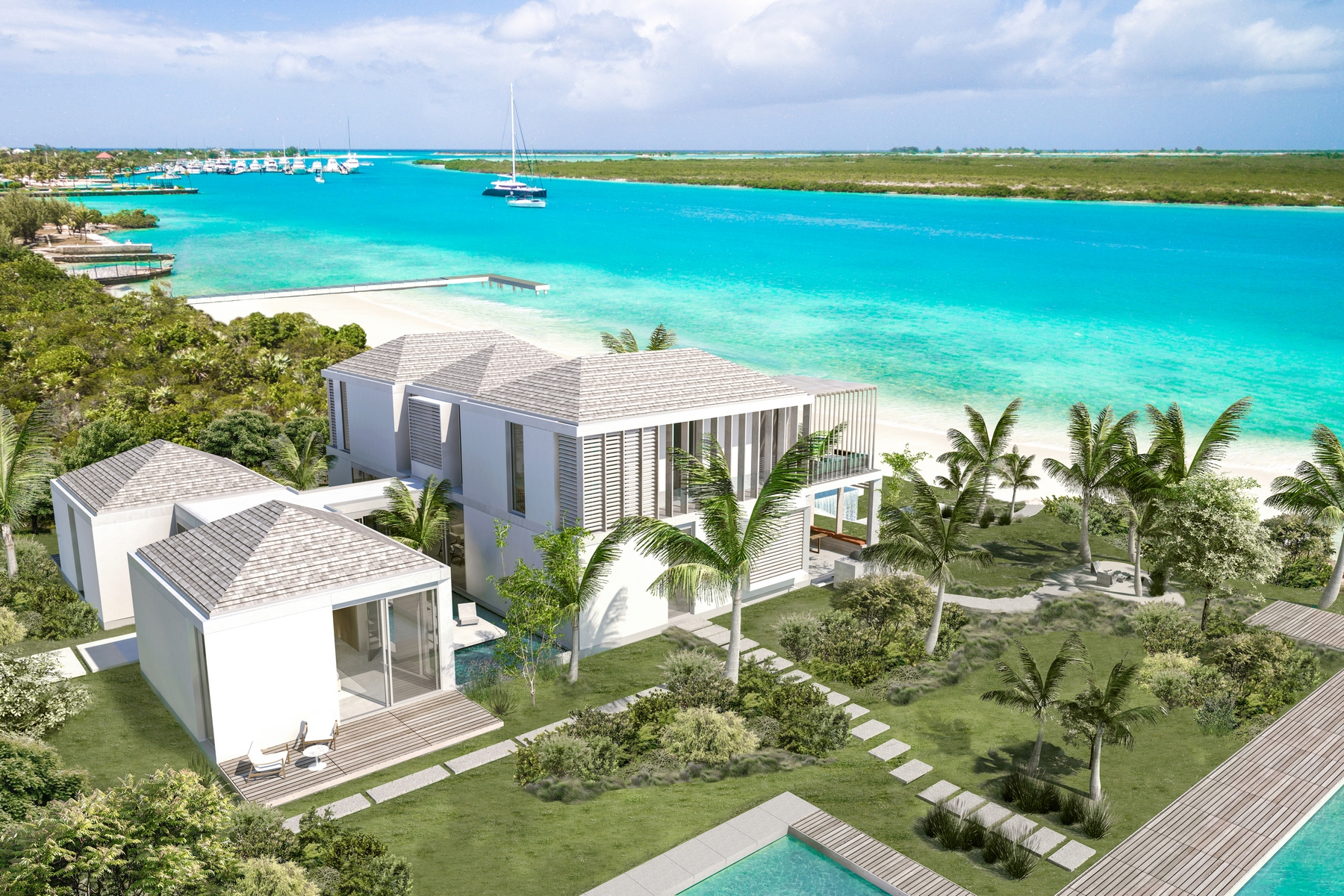 Tek Ailelik Ev için Satış at Pavilion House - Beachfront Lot 1 Leeward, Providenciales, Turks Ve Caicos Adalari