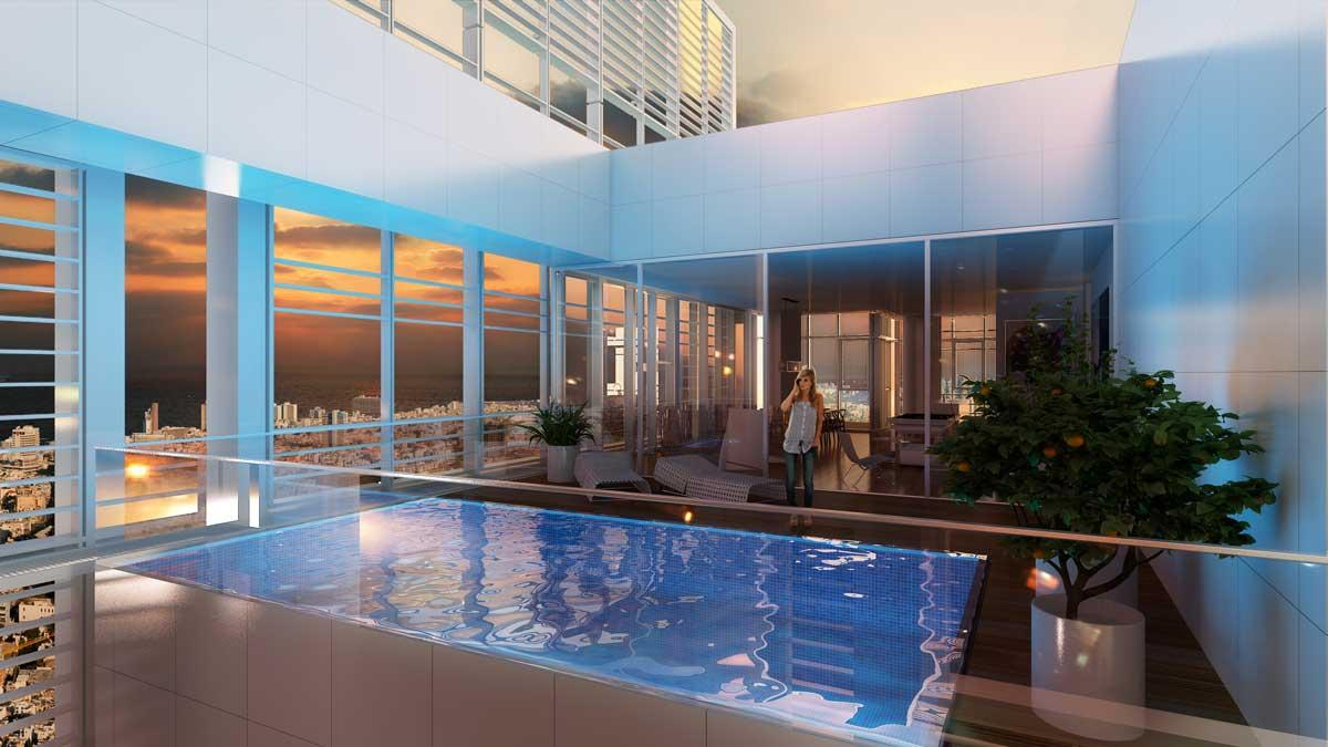 "sales property at Sophisticated ""Rothschild Summit "" Penthouse in Richard Meier Tower"