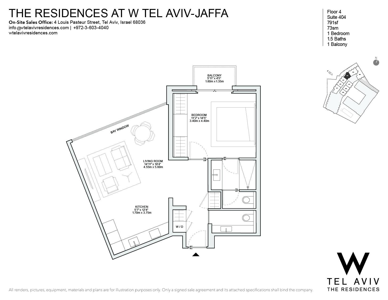 Einfamilienhaus für Verkauf beim W Tel Aviv Residences, 404 Luxury Apartment Tel Aviv, Israel 68036 Israel