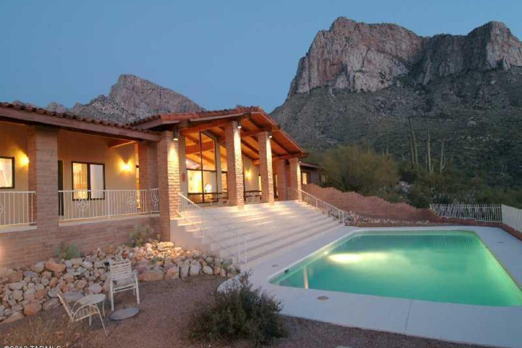 Частный односемейный дом для того Продажа на Beautiful Custom Home on 13.2 Acres in Gated Community of La Reserve 9800 N Carodera Canyon Place Oro Valley, Аризона, 85737 Соединенные Штаты