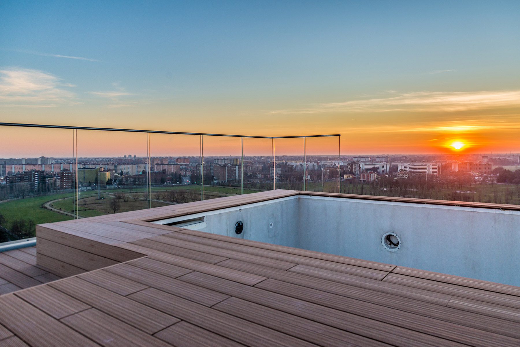 sales property at Unique triplex with panoramic pool and views of the skyline and beyond