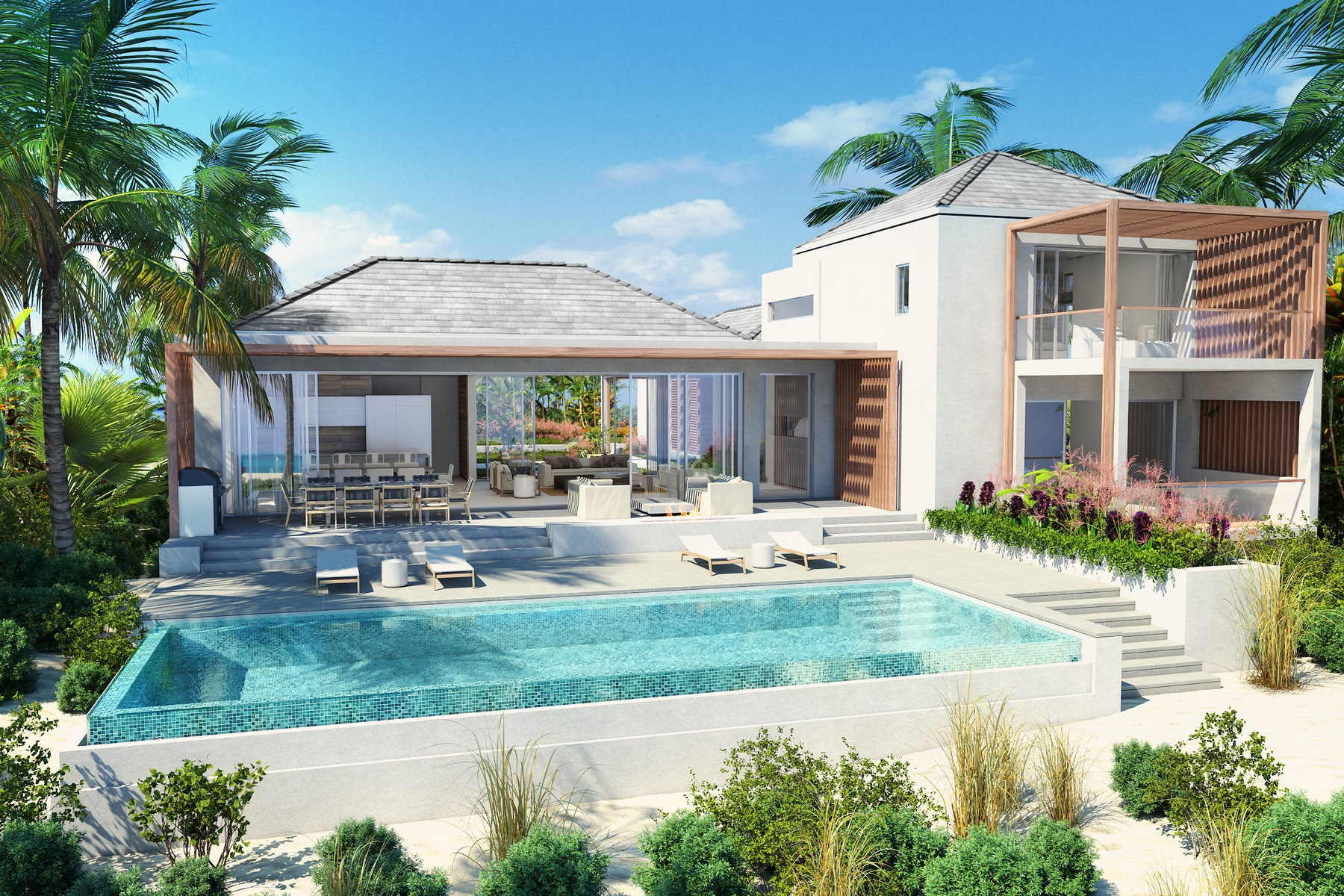 Casa Unifamiliar por un Venta en BEACH ENCLAVE LONG BAY - Design One 4B Beachfront Long Bay, Providenciales TCI Islas Turcas Y Caicos