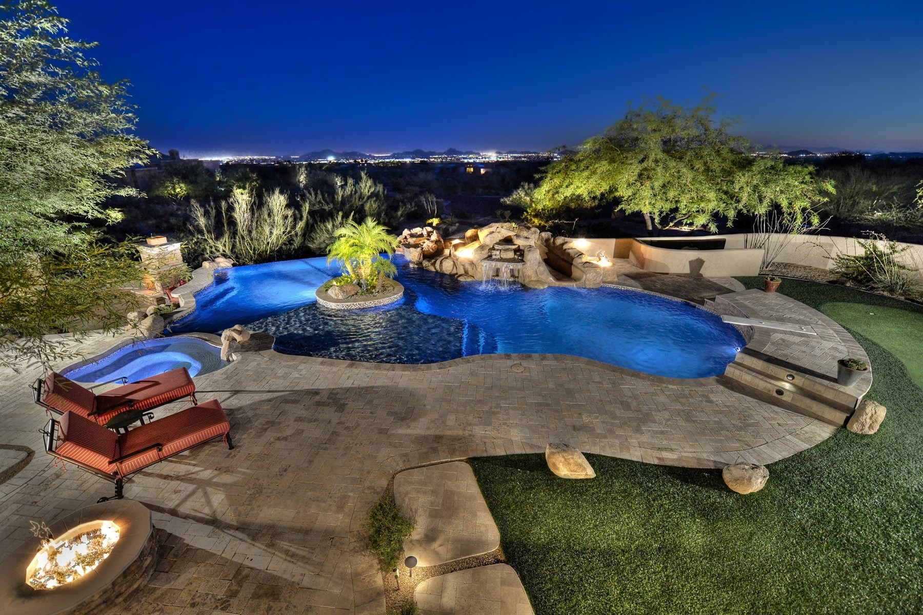 Property For Sale at Serene & Dramatic Southwest Contemporary Nestled On Two Lush Desert Acres