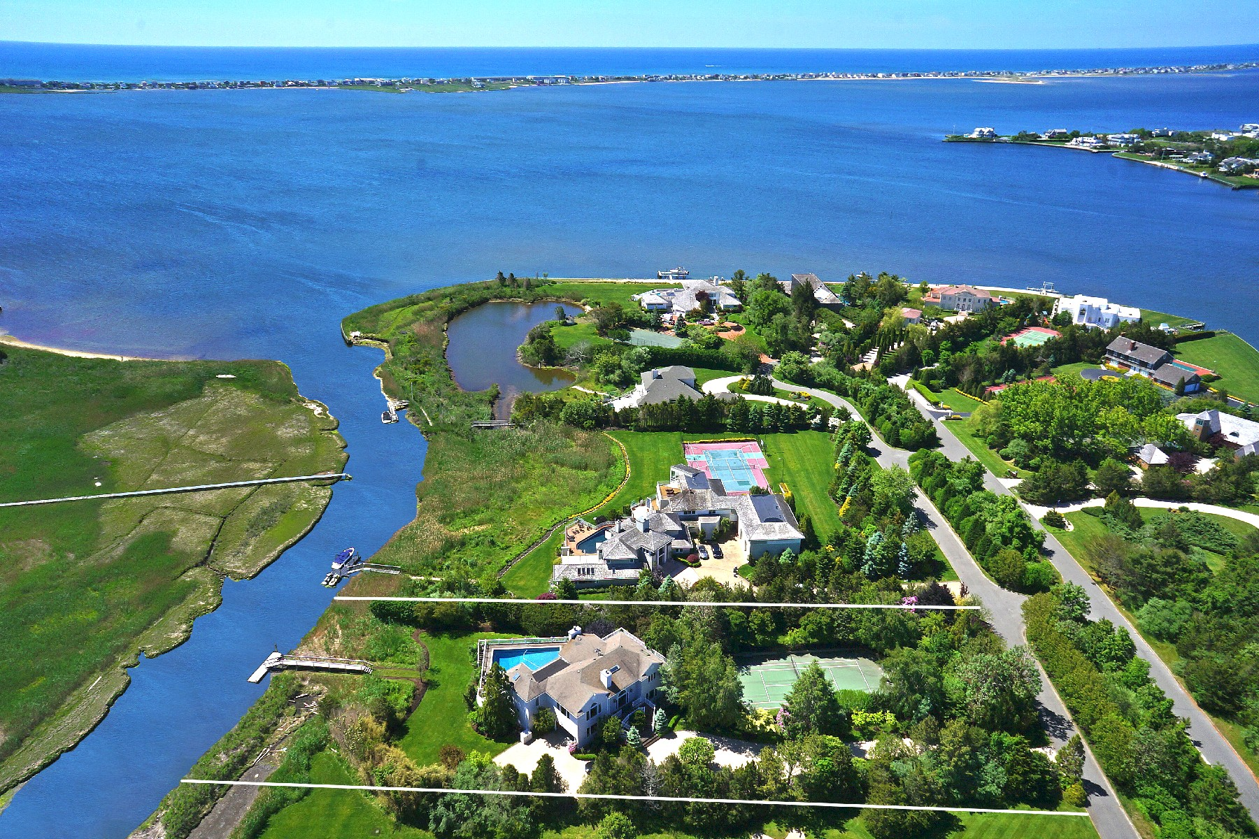 Single Family Home for Sale at Waterfront - Dock-Pool-Tennis 12 Pine Tree Lane Westhampton, New York 11977 United States