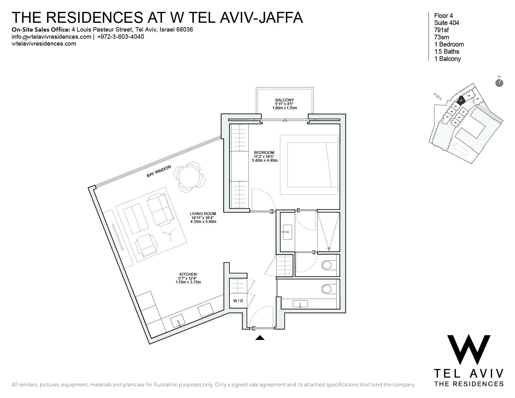 Single Family Home for Sale at W Tel Aviv Residences, 404 Luxury Apartment Tel Aviv, Israel 68036 Israel