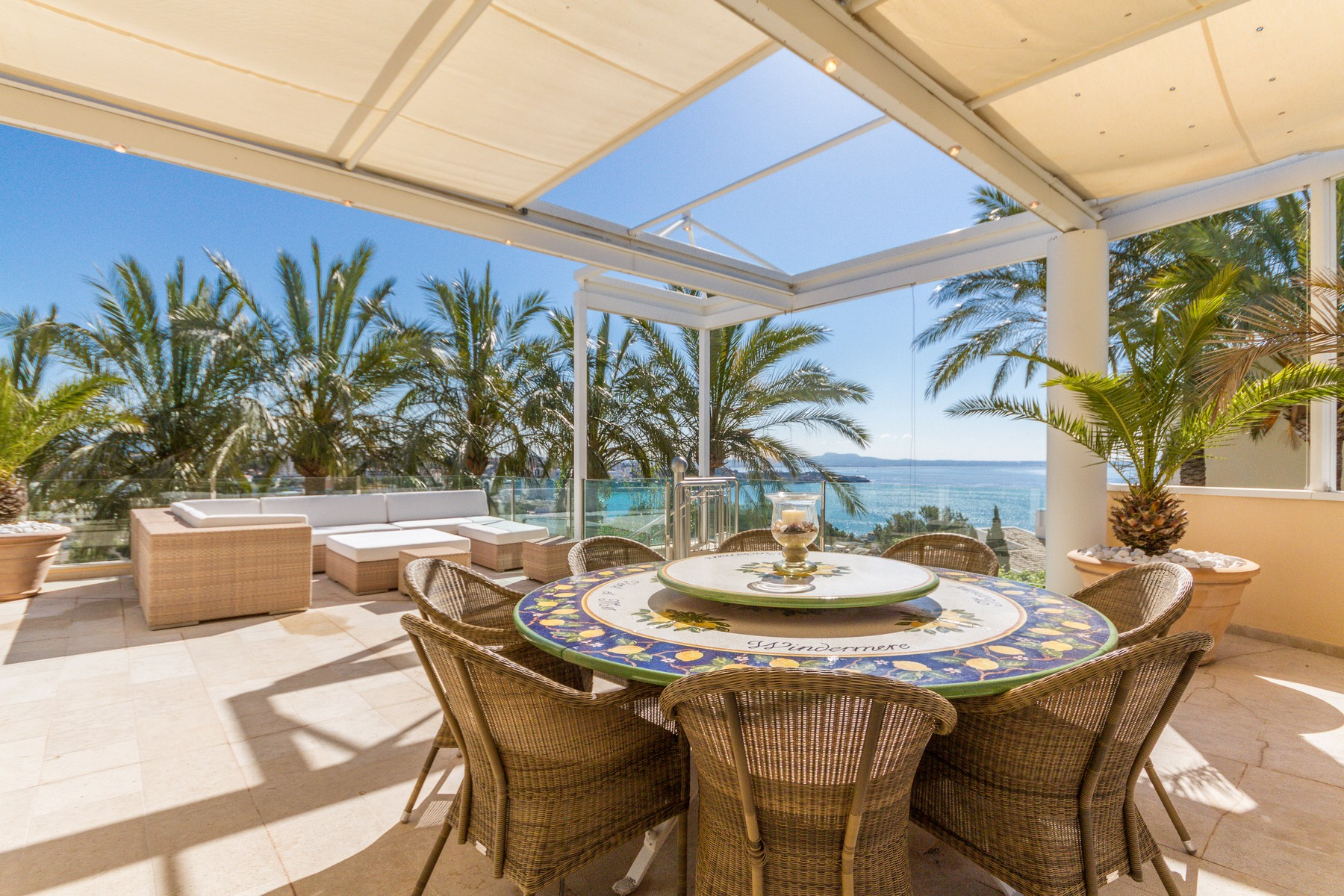 Property Of Impressive sea view villa for sale in Cas Catala with tennis court