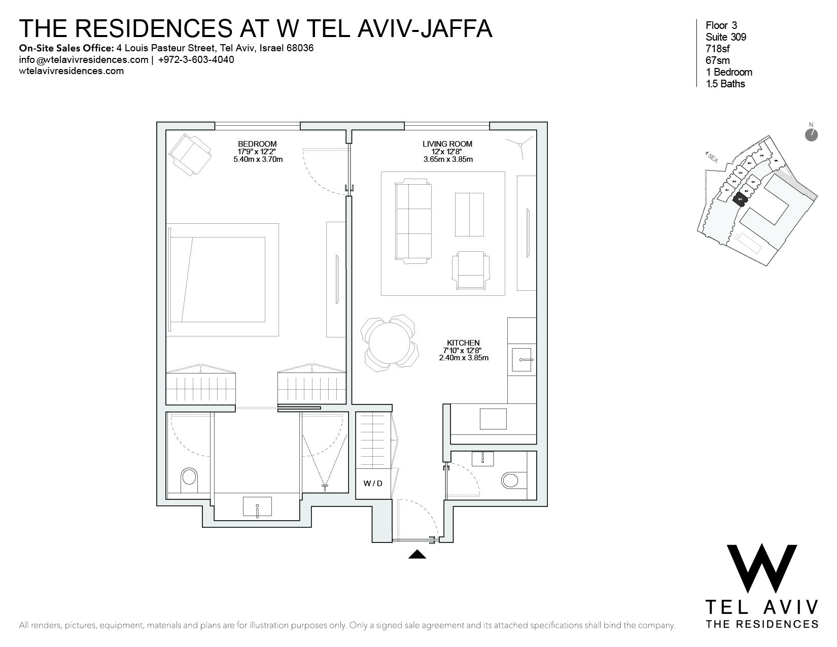 Appartement pour l Vente à W Tel Aviv Residences, 309 Luxury Apartment Tel Aviv, Israel 68036 Israël