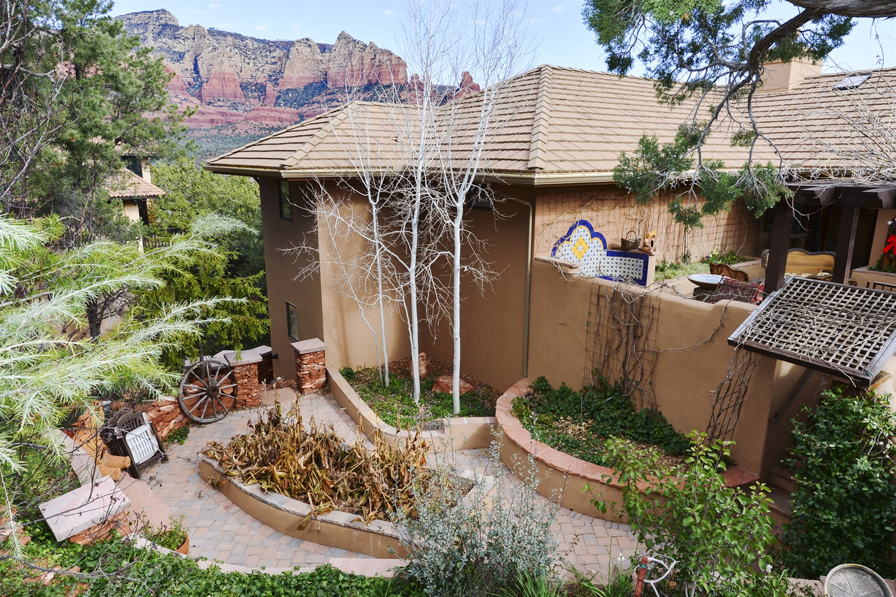 Single Family Home for Sale at Contemporary Spanish-style home was gloriously remodeled. 240 Ridge Rd Sedona, Arizona 86336 United States