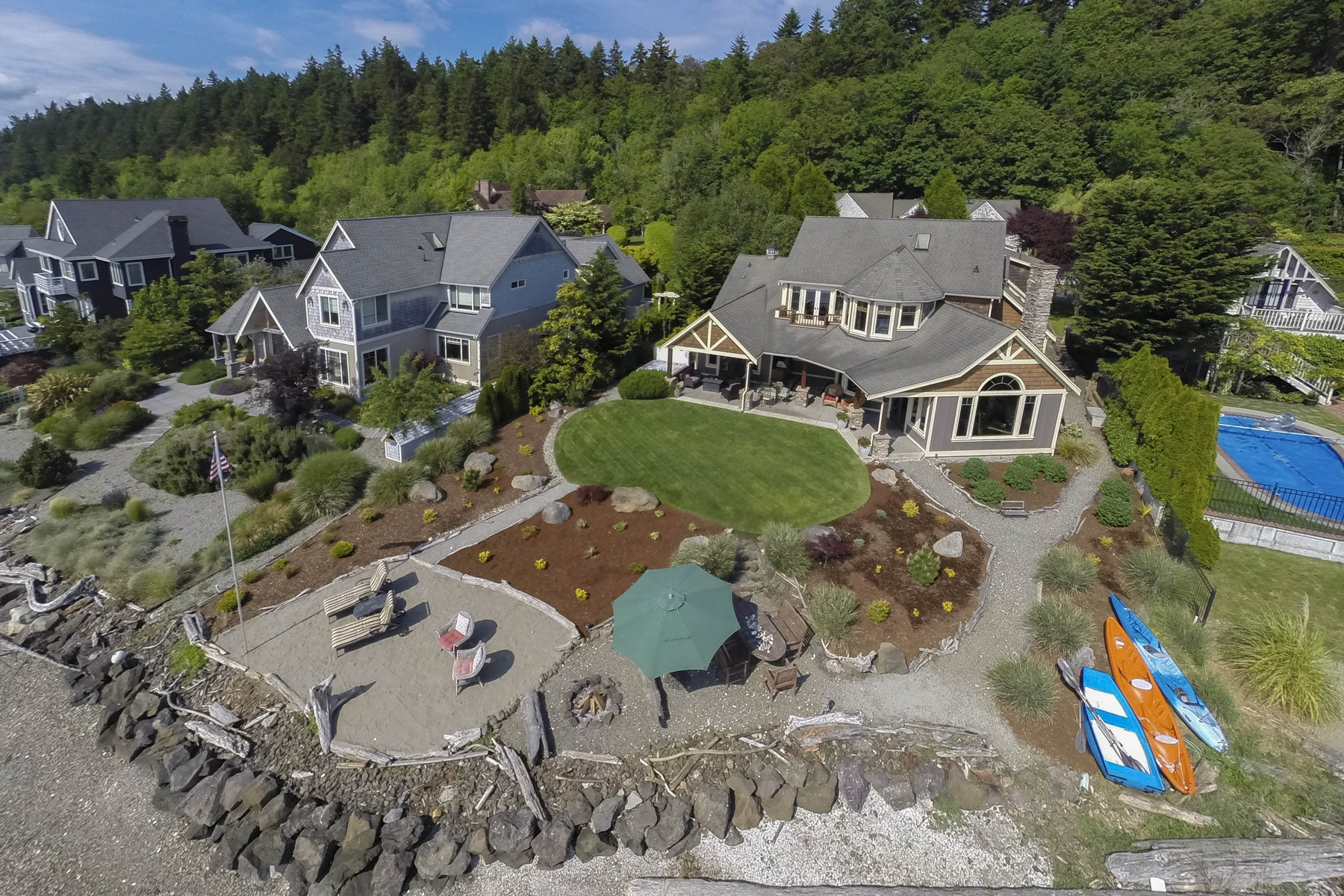 Single Family Home for Sale at Beachfront Retreat 9333 NE South Beach Drive Bainbridge Island, Washington 98110 United States