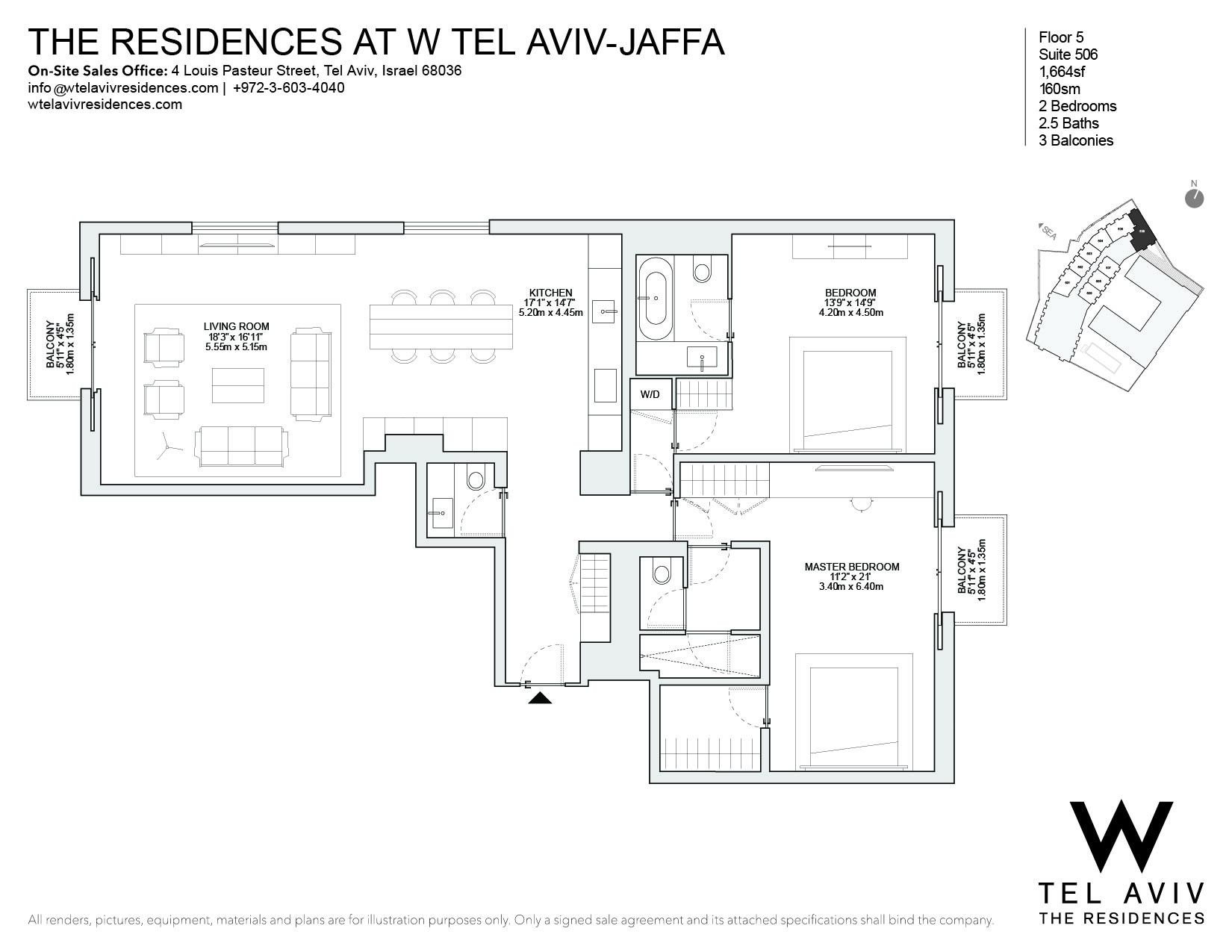 Appartement pour l Vente à W Tel Aviv Residences, 506 Luxury Apartment Tel Aviv, Israel 68036 Israël