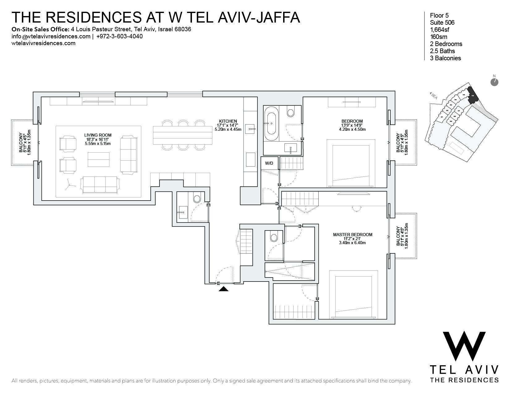 Apartment for Sale at W Tel Aviv Residences, 506 Luxury Apartment Tel Aviv, Israel 68036 Israel