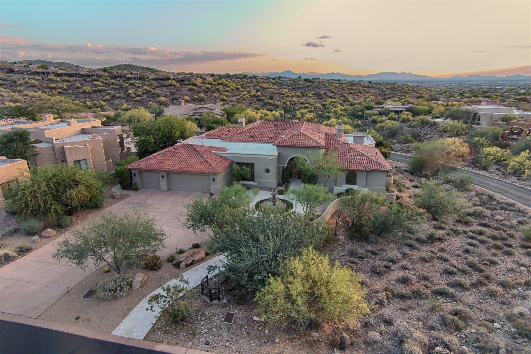 Single Family Home for Sale at Exquisite Mediterranean style home nestled in a secluded canyon. 11397 E BETONY DR Scottsdale, Arizona, 85255 United States