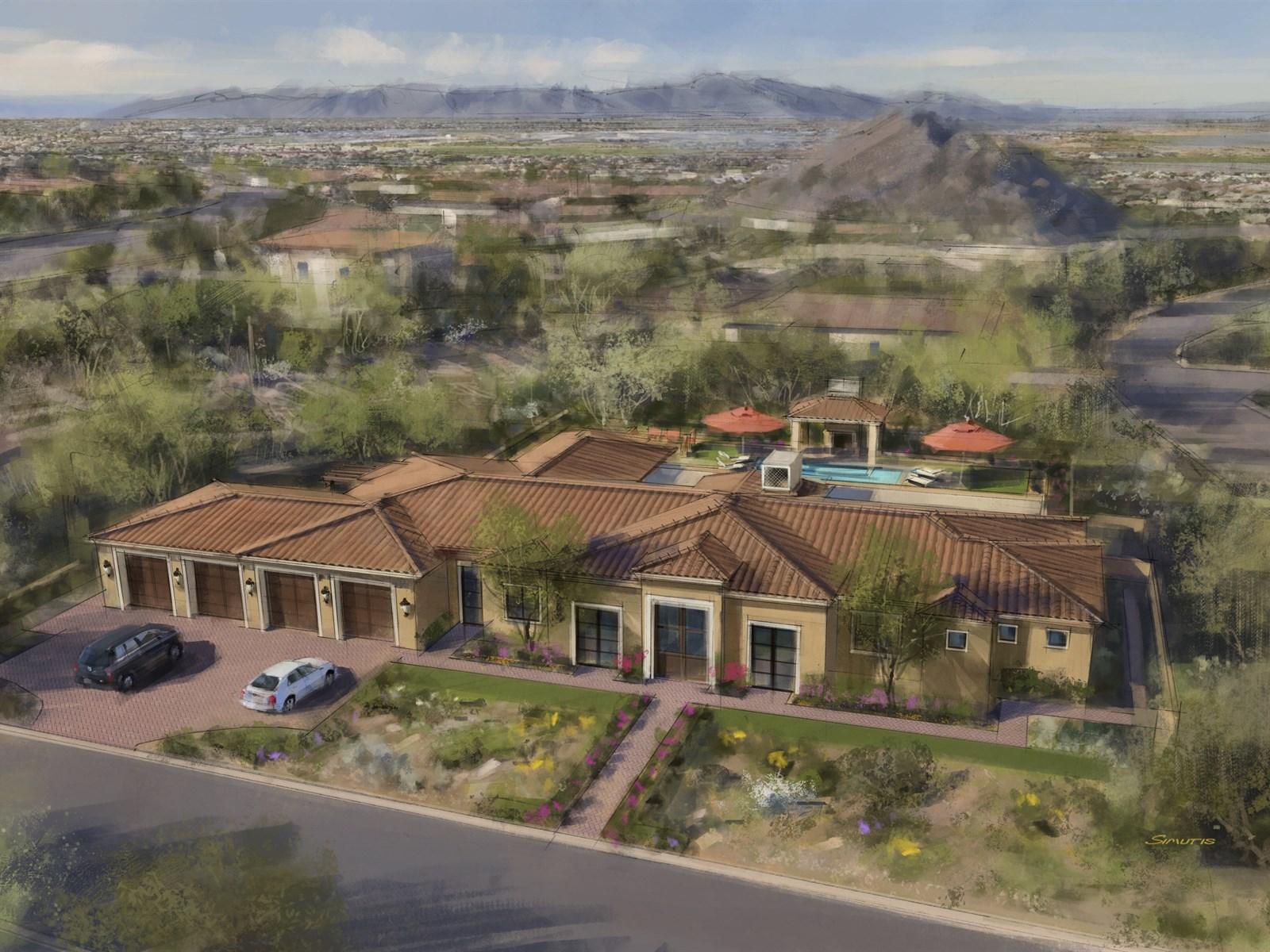 獨棟家庭住宅 為 出售 在 New Luxury Spanish Mediterranean Villa. 7241 E Summit Trail ST Mesa, 亞利桑那州 85207 美國
