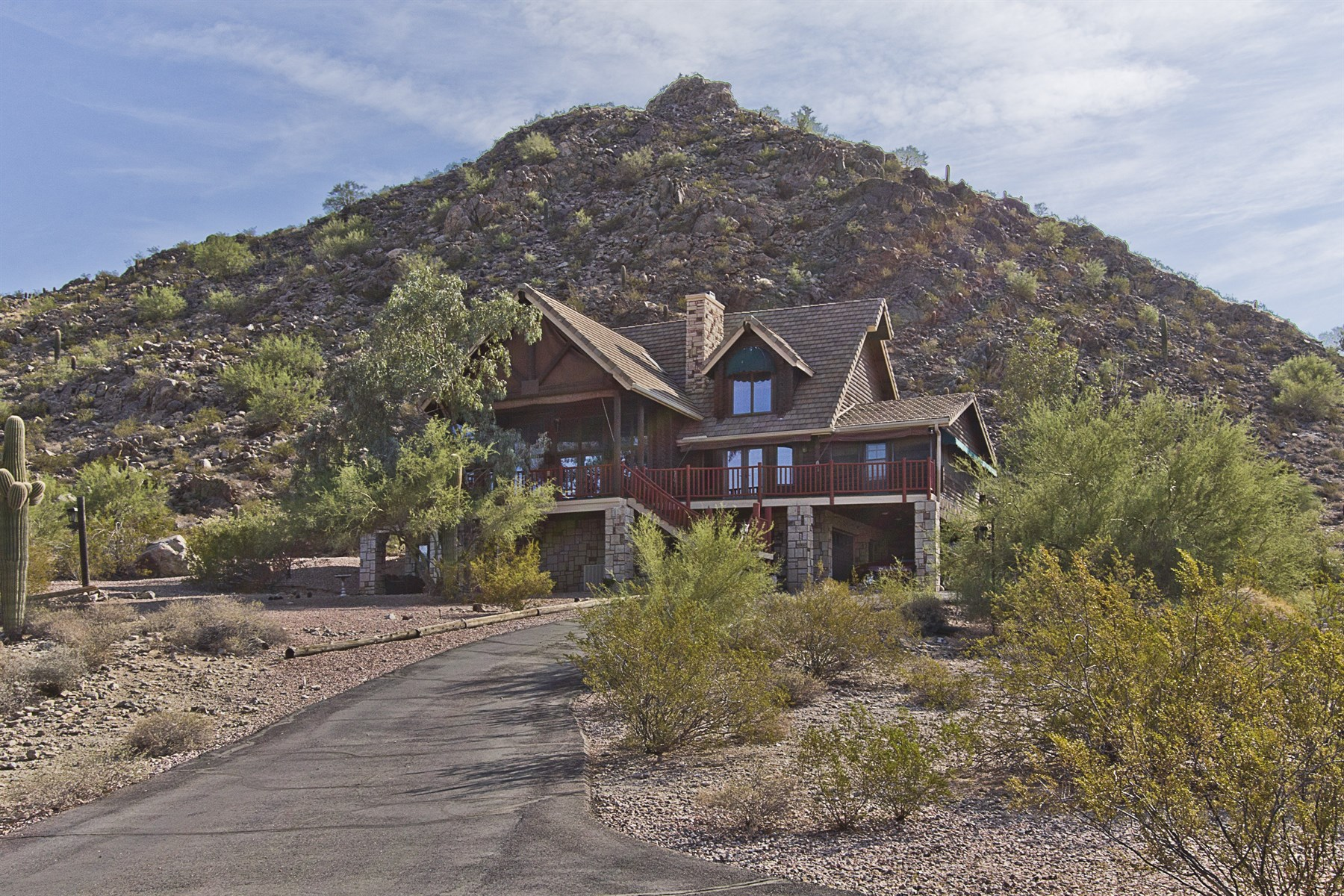 Single Family Home for Sale at Stunning log home estate on 10 acres nestled into the beautiful Santan Mountains 31545 N Pamela Dr Queen Creek, Arizona 85142 United States