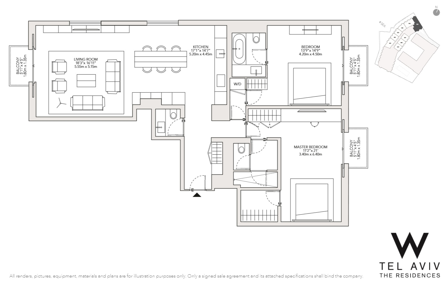 Additional photo for property listing at W Tel Aviv Residences, 506 Luxury Apartment  Tel Aviv, Israel 68036 Israel