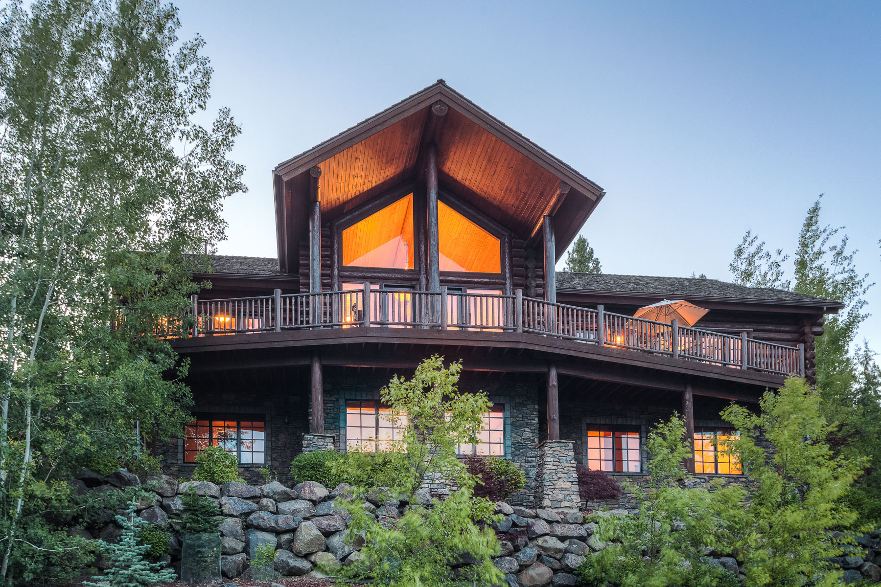 Single Family Home for Sale at Custom Built Log Home with Lake Views 5409 W Onyx Circle Coeur D Alene, Idaho, 83814 United States