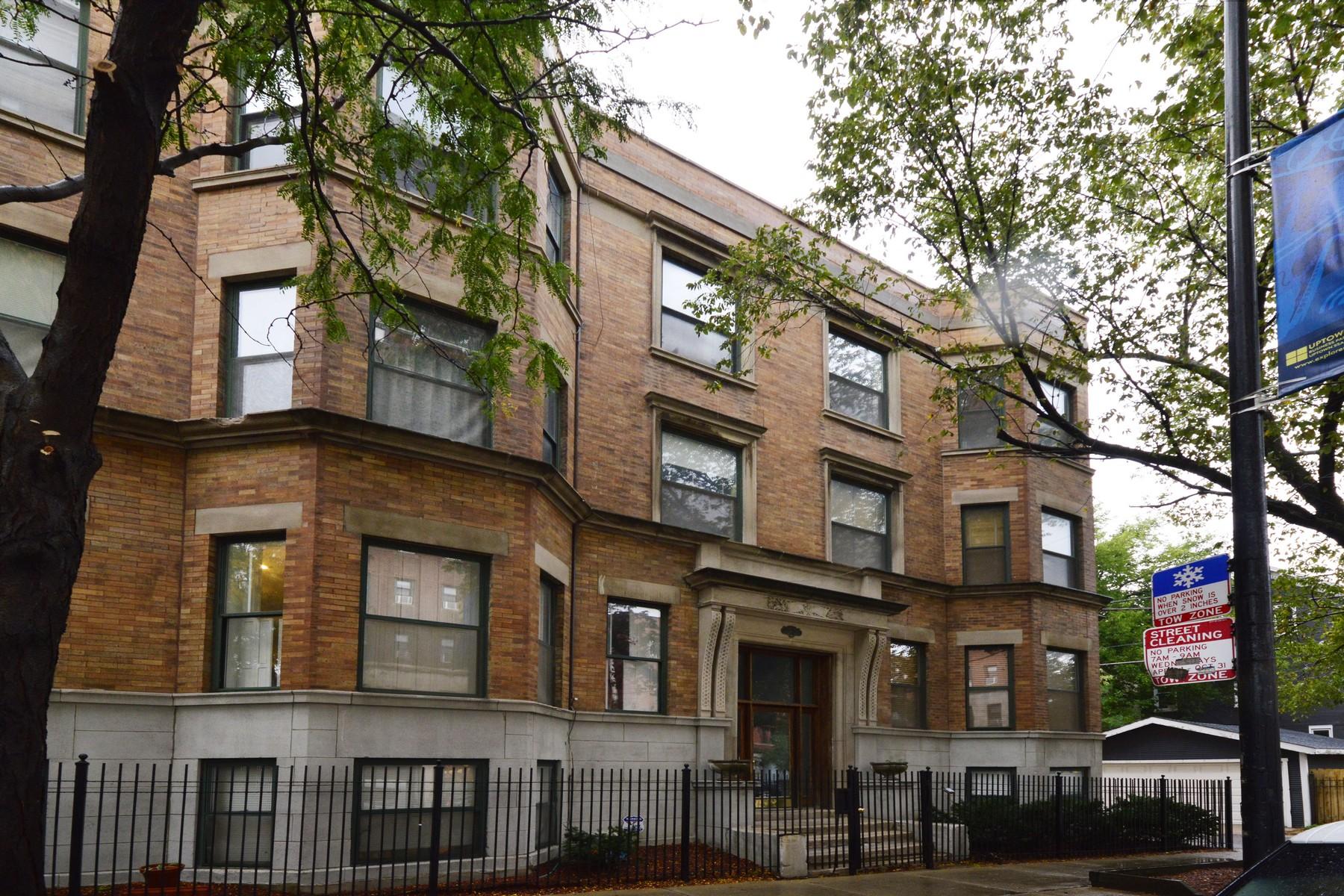 Casa Unifamiliar por un Venta en Large Renovated Vintage Condo 1318 W Wilson Avenue Unit 1A Uptown, Chicago, Illinois, 60640 Estados Unidos