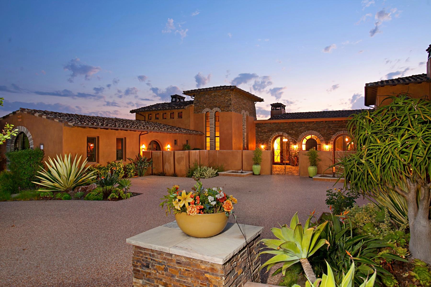 Частный односемейный дом для того Продажа на 14821 Rancho Valencia Vista Rancho Santa Fe, Калифорния 92067 Соединенные Штаты