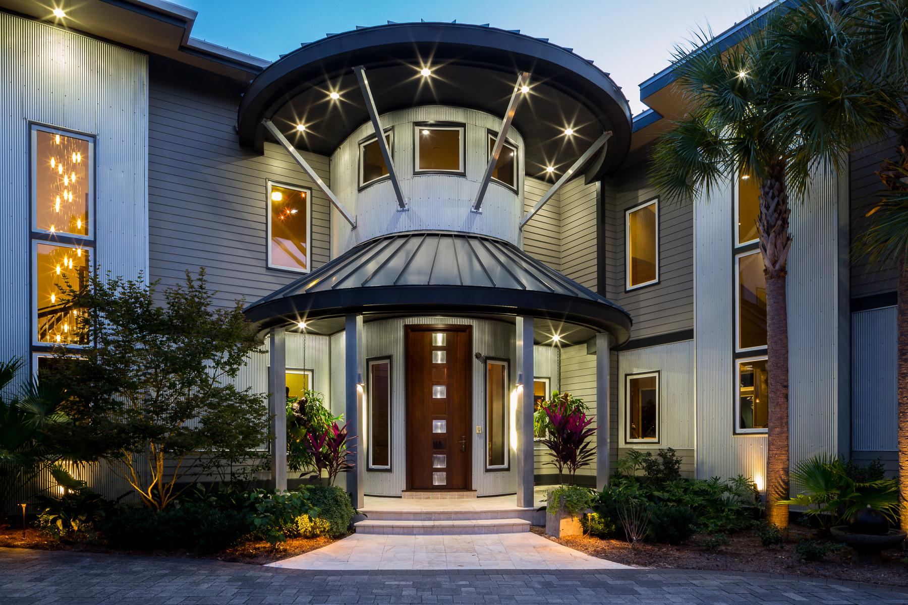 Maison unifamiliale pour l Vente à MODERN WATERFRONT ESTATE OFFERS RARE PRIVACY ON UNIQUE SITE 1465 W County Highway 30A Santa Rosa Beach, Florida, 32459 États-Unis