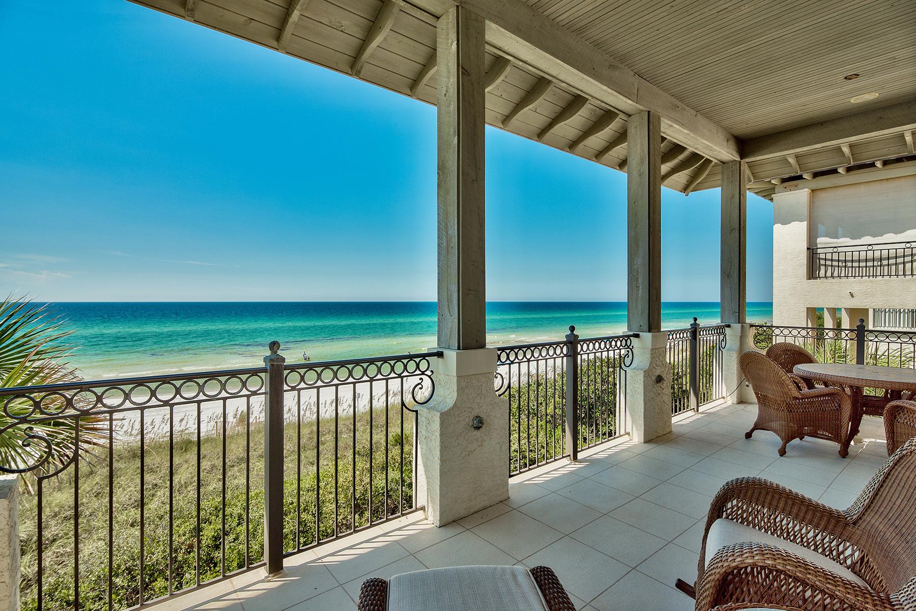 Maison unifamiliale pour l Vente à LUXURIOUS GULF FRONT MEDITERRANEAN RETREAT IN UPSCALE VIZCAYA 1025 Vizcaya Drive Santa Rosa Beach, Florida, 32459 États-Unis