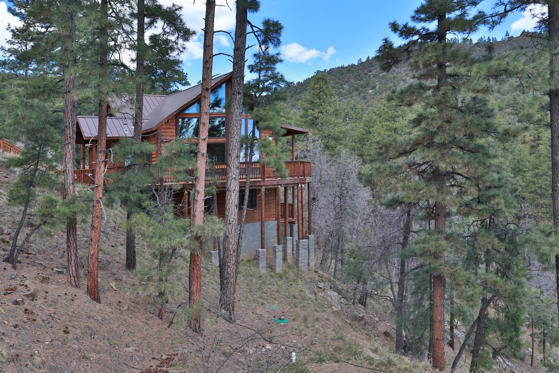 Single Family Home for Sale at Hillside pine wood home in Walker with breathtaking views 5594 S Morning Star Ln Prescott, Arizona, 86303 United States