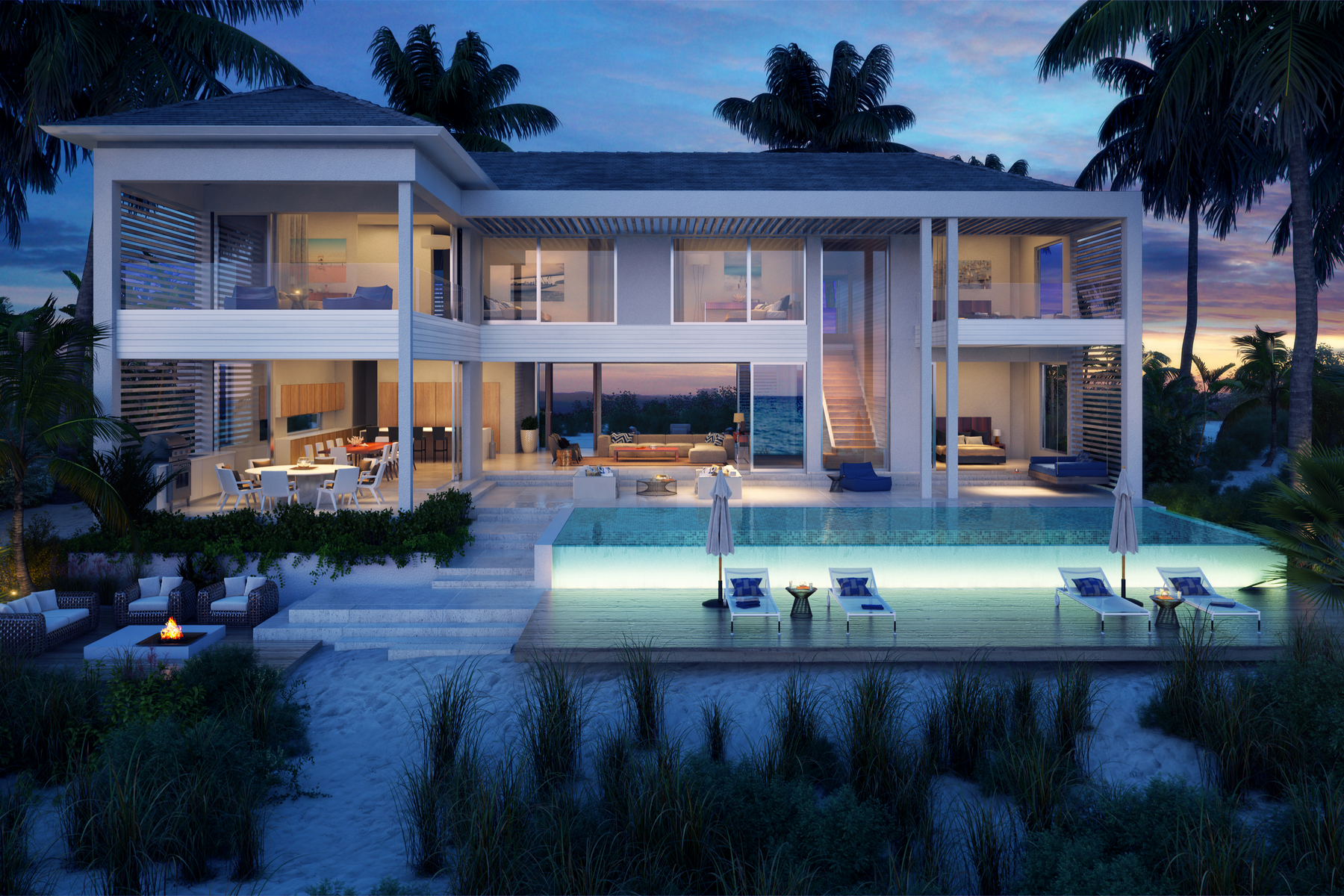獨棟家庭住宅 為 出售 在 BEACH ENCLAVE GRACE BAY Design B Beachfront, Grace Bay, 普羅維登夏, TKCA 1ZZ 特克斯和凱科斯群島