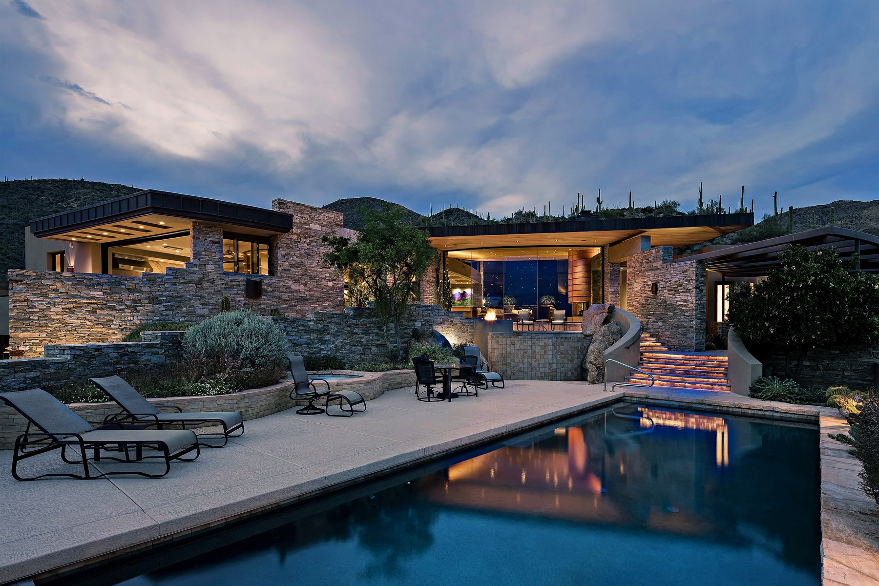 sales property at Taliesin styled contemporary home perched at the top of Saguaro Forest.