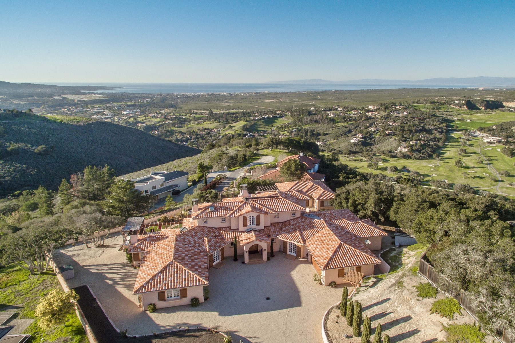 Single Family Home for Sale at Hilltop French Villa with Bay Views 25021 Hidden Mesa Court Monterey, California 93940 United States