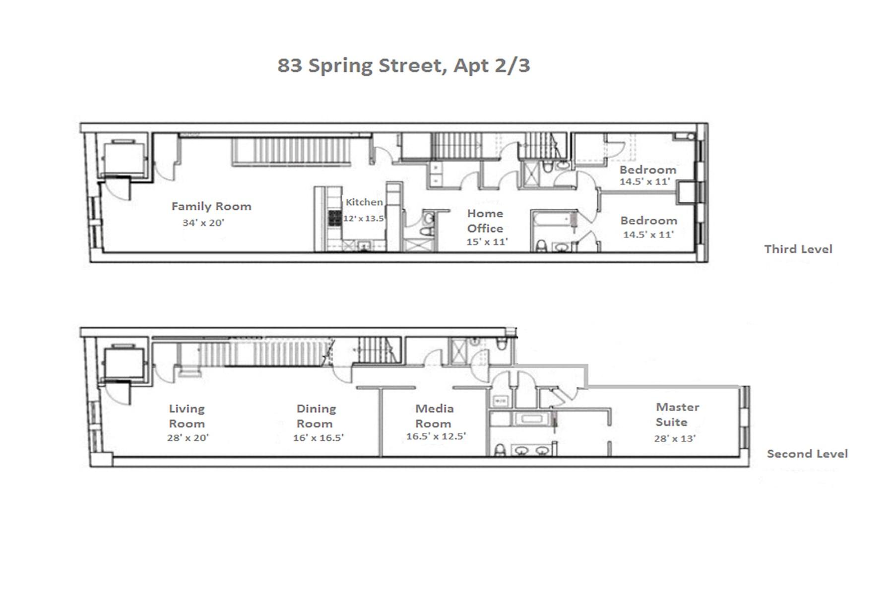 Condominium for Rent at 83 Spring Street, Apt. 2/3 83 Spring Street Apt 2/3 New York, New York 10012 United States