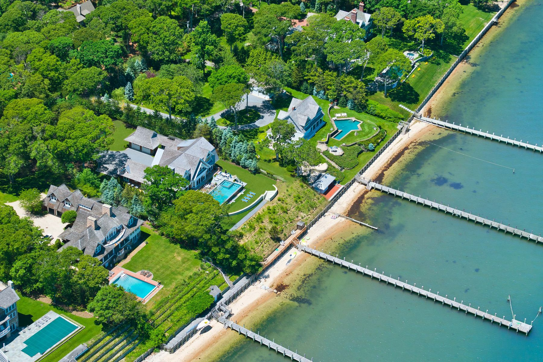 Single Family Homes for Sale at Sleek New Build with Deep Water Dock 44 Forest Road Sag Harbor, New York 11963 United States