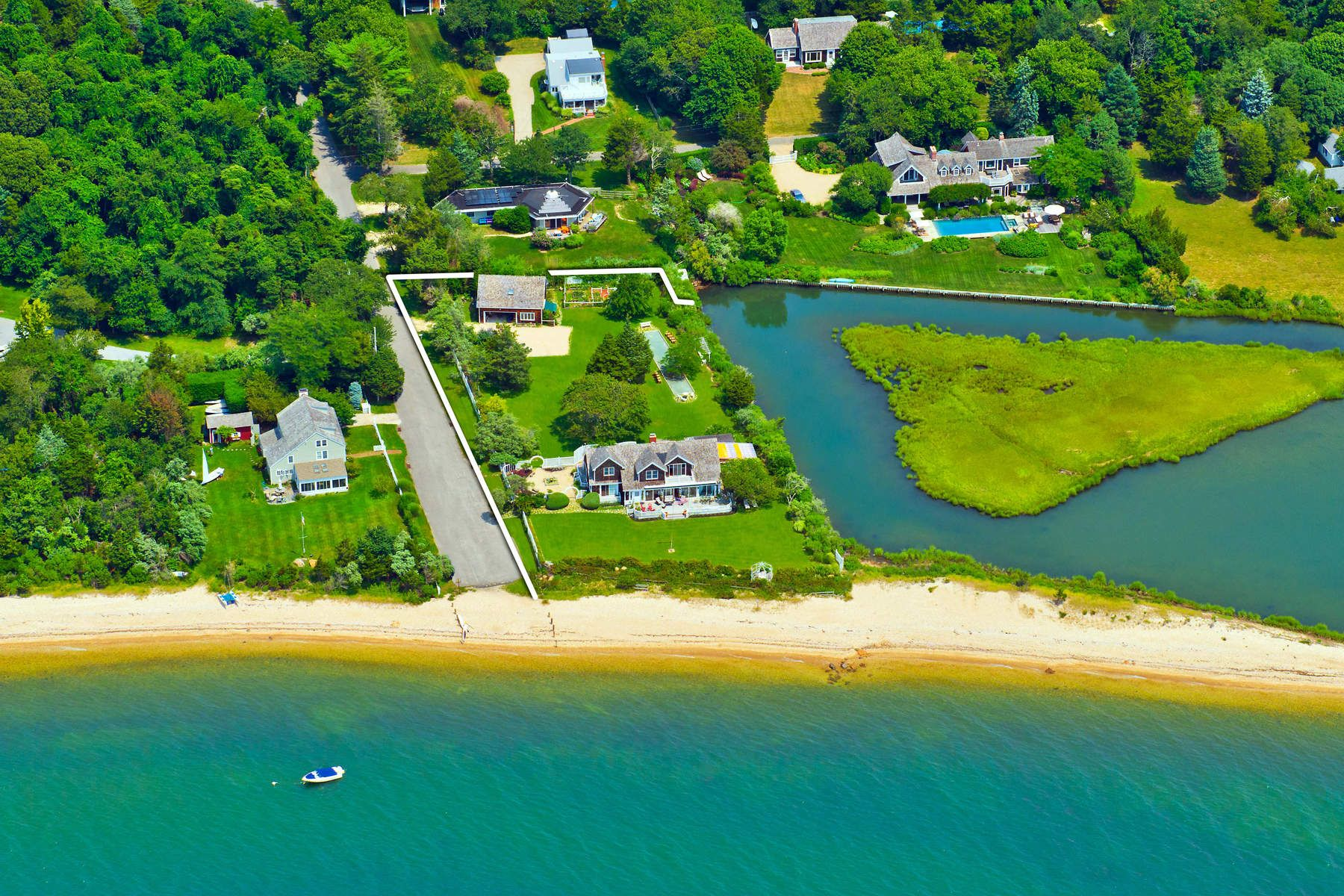 Single Family Homes for Sale at Sag Harbor/North Haven Waterfront 121 Sunset Beach Road Sag Harbor, New York 11963 United States