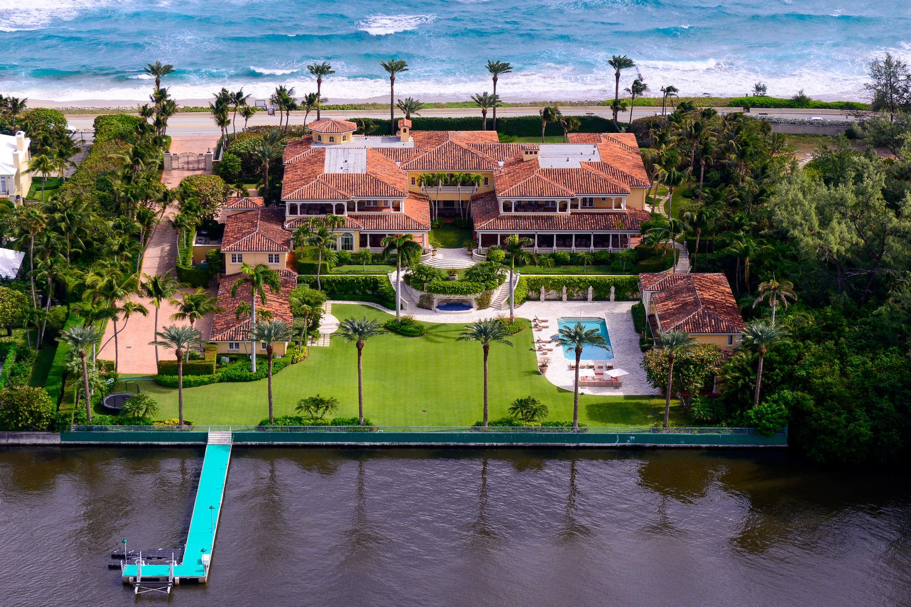 Single Family Home for Sale at Magnificent Ocean-to-Lake Mediterranean 1960 S Ocean Blvd Palm Beach, Florida 33480 United States
