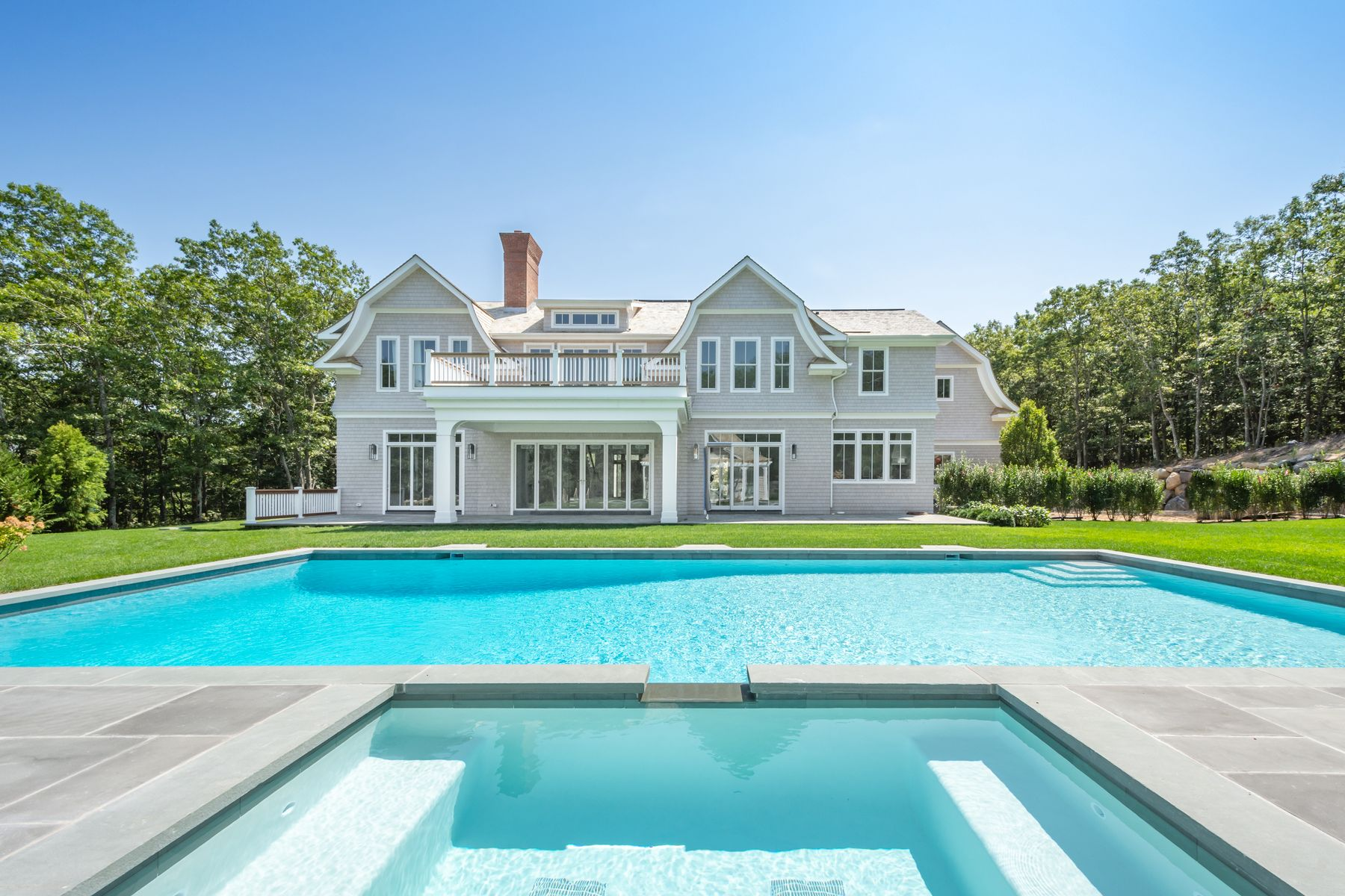 Single Family Home for Active at New 8 Bedroom Gated Estate w/ Tennis 1348 Deerfield Road Water Mill, New York 11976 United States