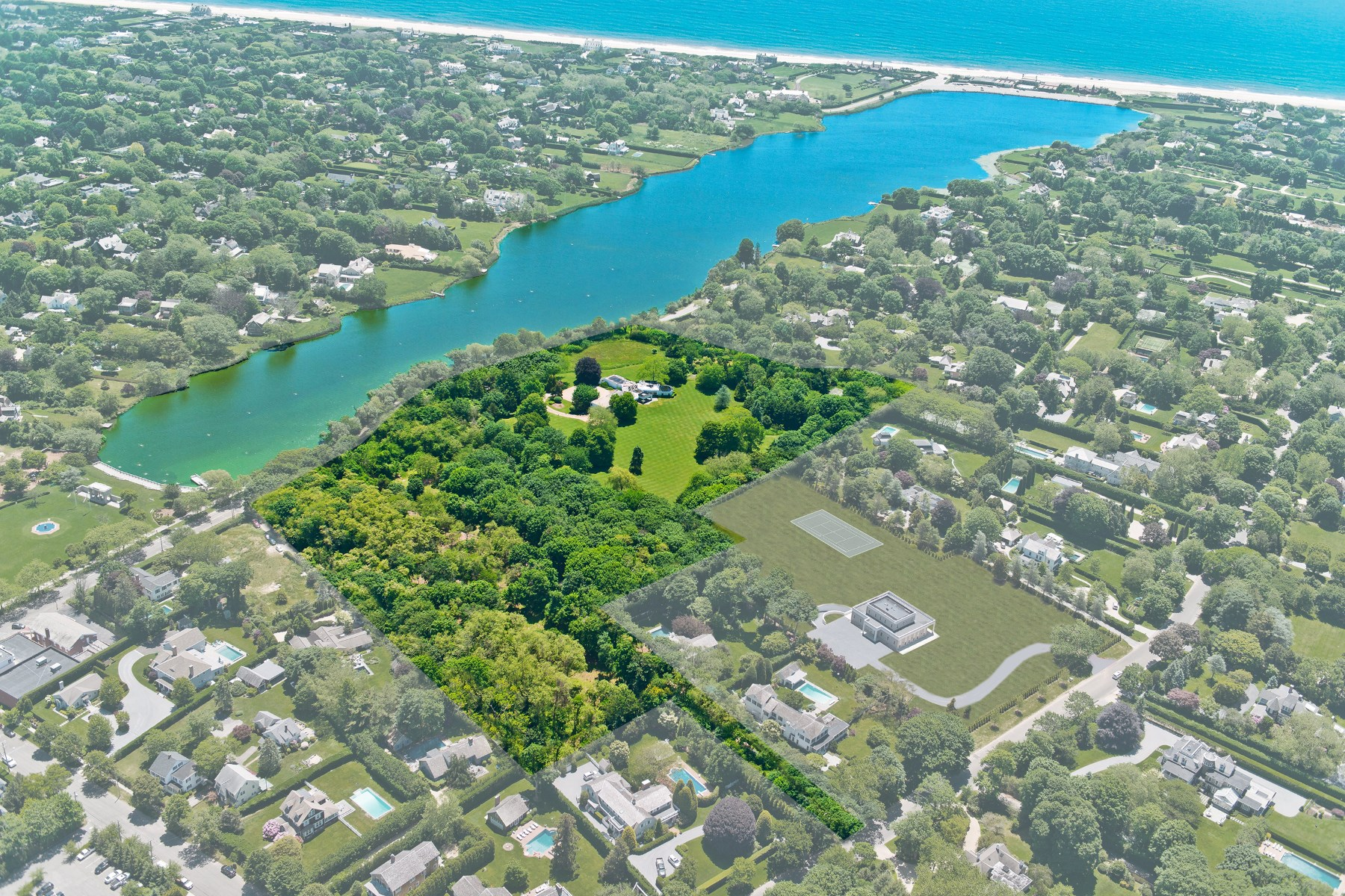 Moradia para Venda às Overlooking Lake Agawam 111, 137, 153 Pond Lane & 52 First Neck Lane 4 properties combined Southampton Estate Section, Southampton, Nova York, 11968 Estados Unidos