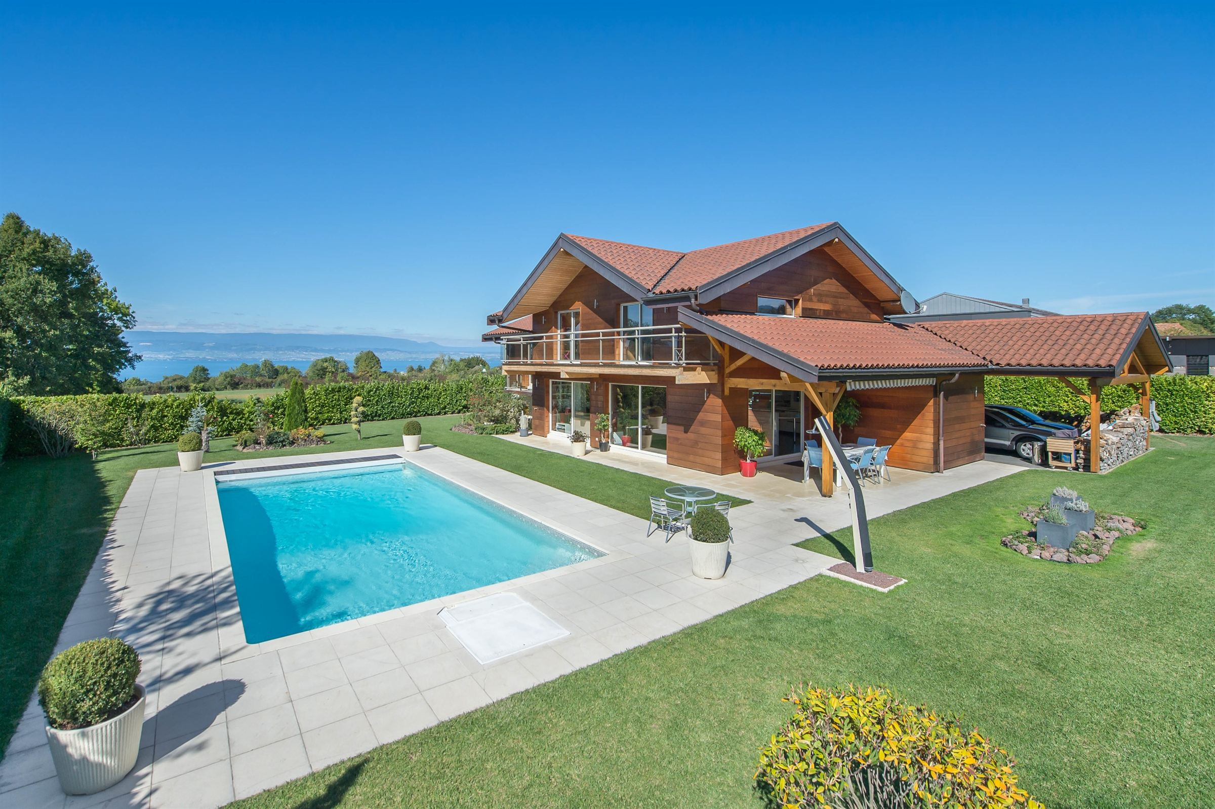 Single Family Home for Sale at Sciez : villa with pool Sciez, Rhone-Alpes, 74140 France