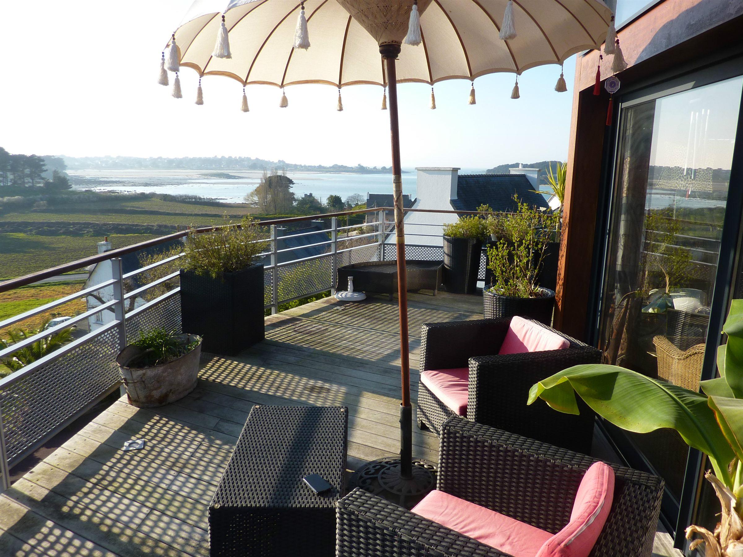 sales property at Impressive designer villa with sea view at the Pink Granite Coast.