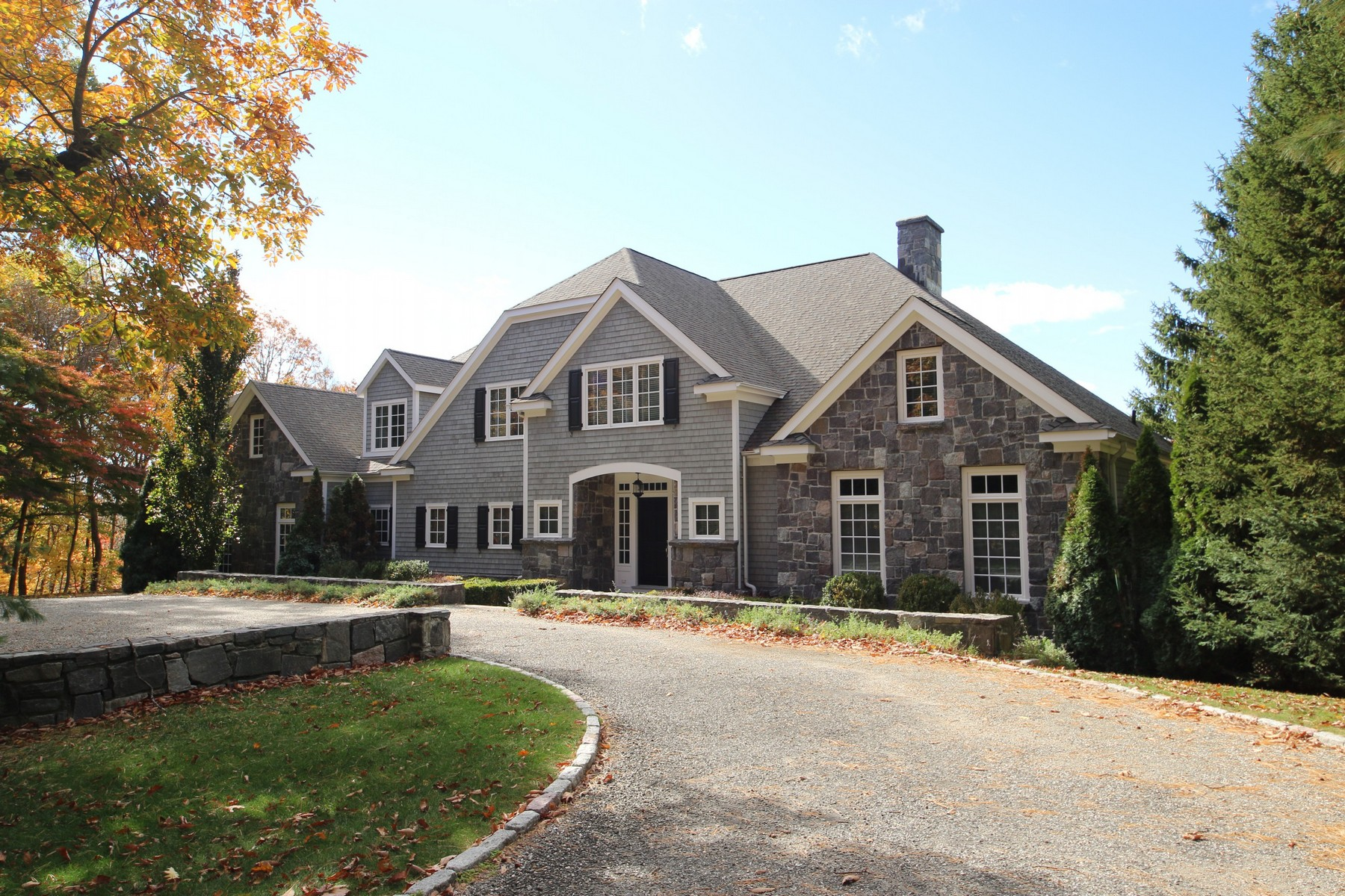 Single Family Home for Sale at Elegant Stone & Shingle Home 96 Round Lake Road Ridgefield, Connecticut, 06877 United States
