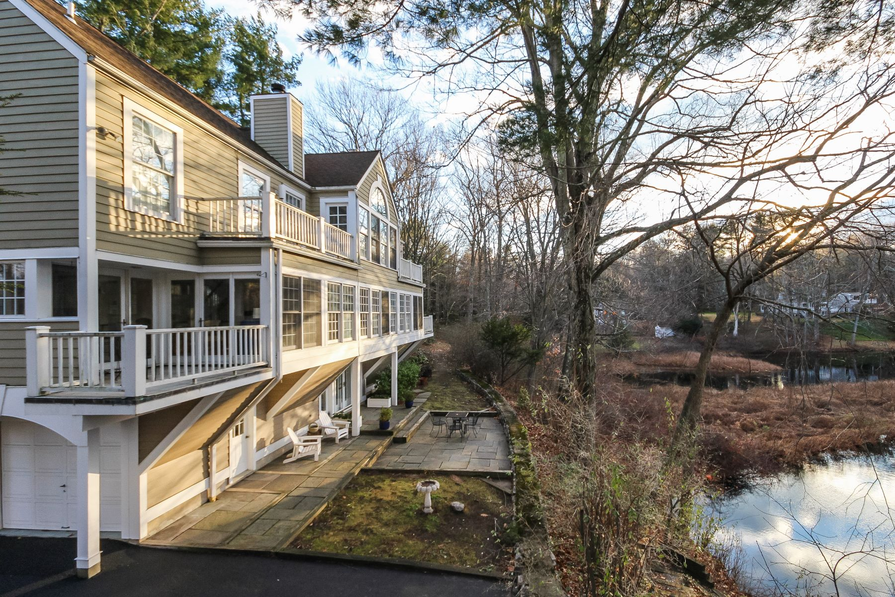 Single Family Home for Sale at Direct Silvermine Riverfront Home 5 James Street Norwalk, Connecticut 06850 United States