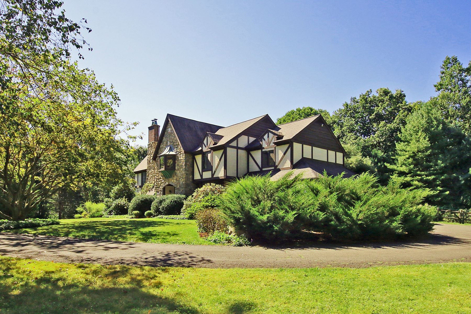 Single Family Home for Sale at Stately English Stone Tudor 15 Tunxis Trail Redding, Connecticut 06896 United States