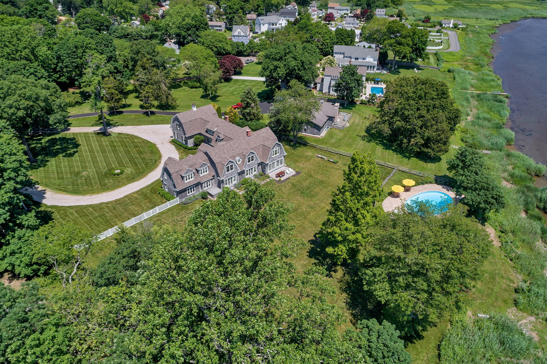 Single Family Homes for Sale at Hamptons-Style Residence on 2 Waterfront Acres 9 Cedar Lane, Old Saybrook, Connecticut 06475 United States