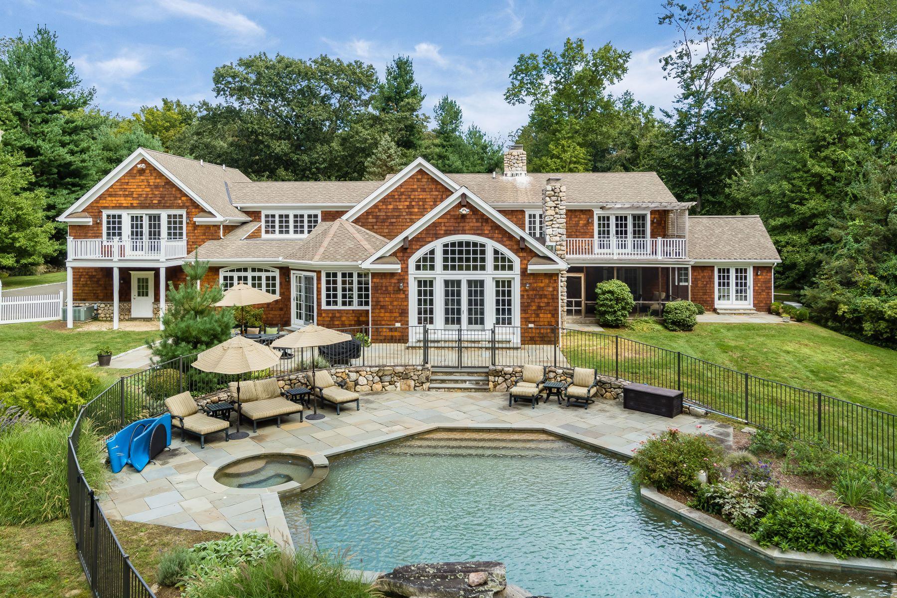 Частный односемейный дом для того Продажа на Exquisite Nantucket Shingle Style Home in Desirable Neighborhood 63 Fanton Hill Road Weston, Коннектикут 06883 Соединенные Штаты