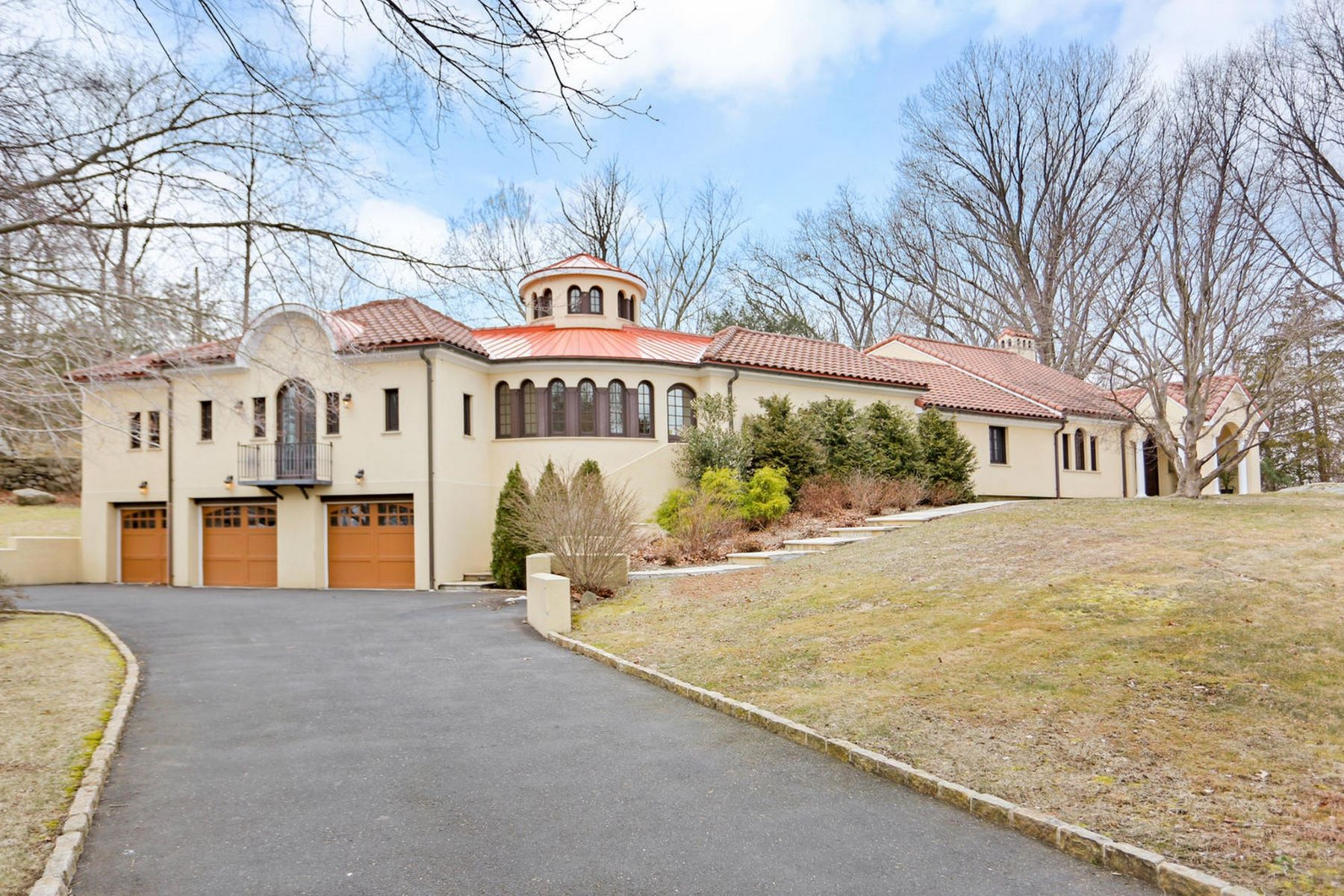single family homes for Sale at Stunning Mediterranean 34 Greenleaf Drive, Stamford, Connecticut 06902 United States
